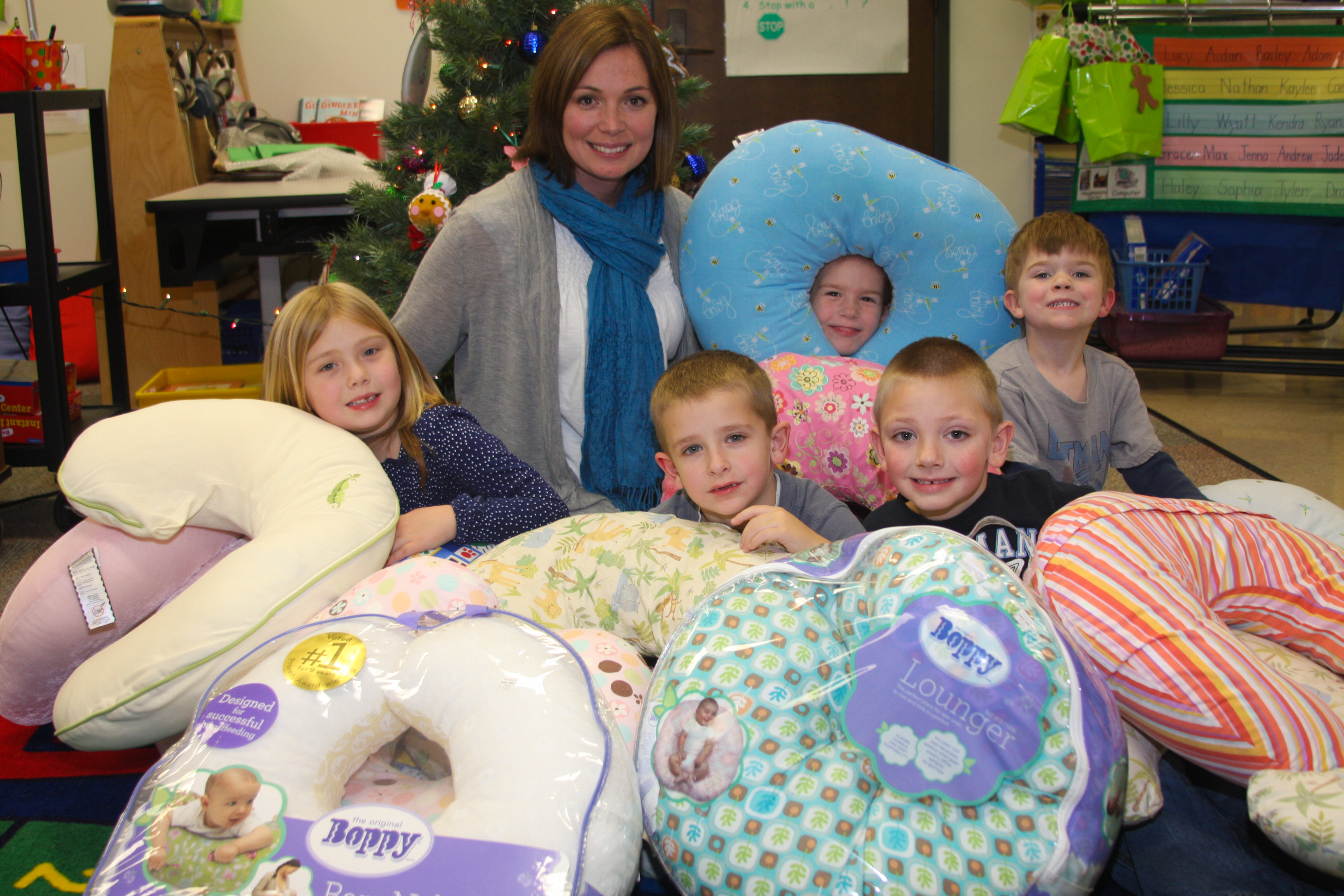 Some of the fantastic kindergarten students at Hinkle Creek Elementary that so lovingly collected pillows and socks for the little ones in China